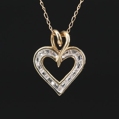 10K Diamond Heart Pendant on 14K Chain