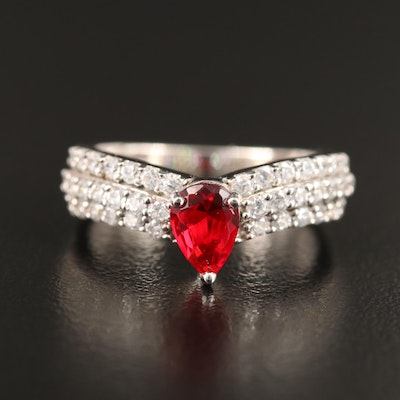 Sterling Glass and Cubic Zirconia Ring