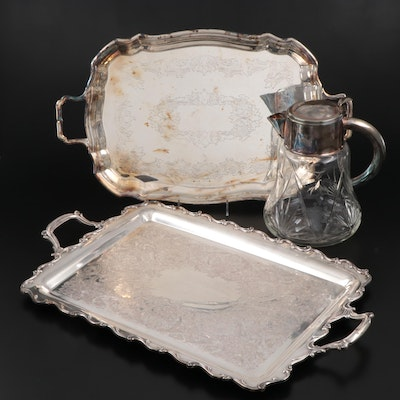 Silver Plate Etched Glass Syrup, Silver Plate Trays Including Sheffield Silver