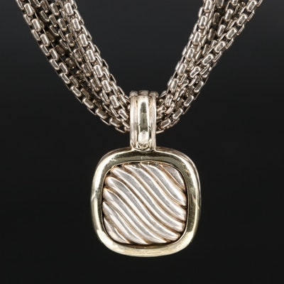 David Yurman Sterling Silver Multi-Strand Necklace with 14K and 18K Accents