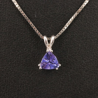 Sterling Silver Tanzanite Solitaire Pendant Necklace