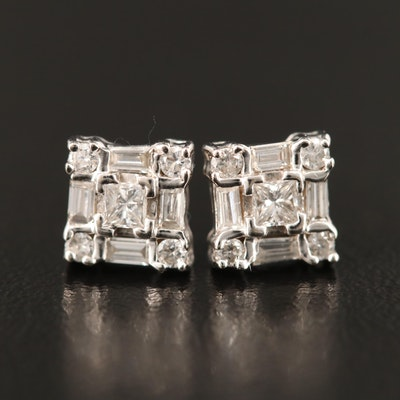 14K Diamond Geometric Stud Earrings