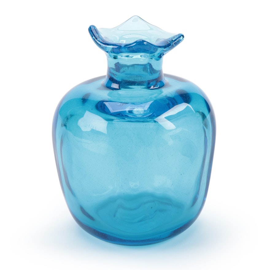 Dominick Labino Handblown Blue Vase, 1966