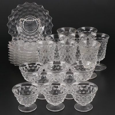 "Fostoria ""American Clear"" Pressed Glass Stemware and Salad Plates"