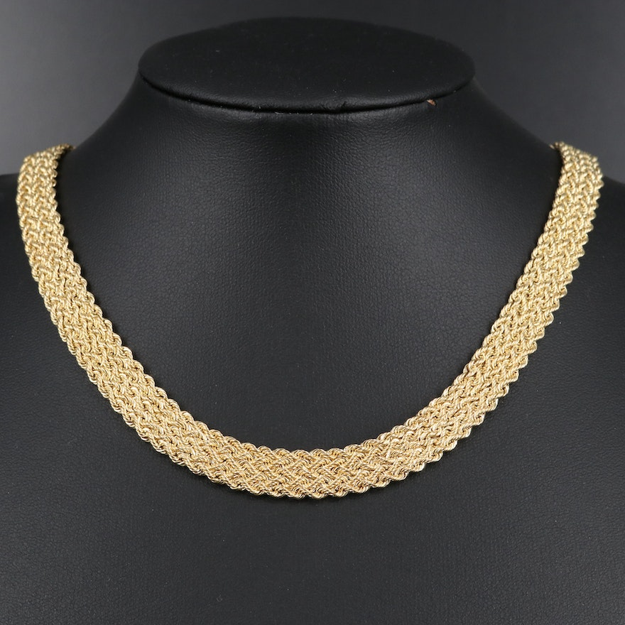 14K Woven Rope Chain Necklace