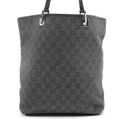 Gucci Tote in Black GG Monogram Canvas and Leather