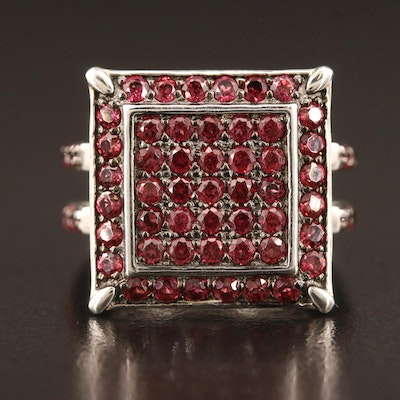 Sterling Silver Multi-Row Garnet Ring with Halo