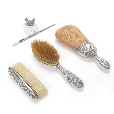Gorham Hair Brush and Other Sterling Silver Repoussé Vanity and Desk Accessories