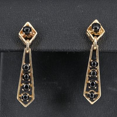 14K Black Onyx Dangle Earrings