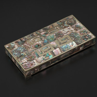 Mexican Abalone Tile Inlaid Metal Trinket Box with Wood Interior, Mid-20th C