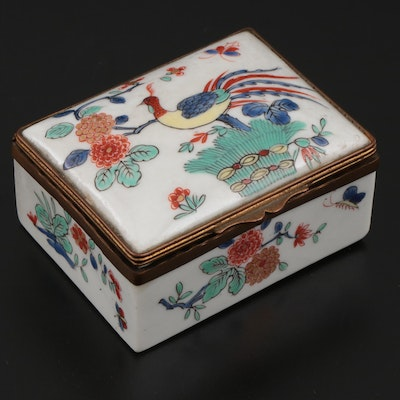 French Samson Chantilly Style Porcelain Box, Late 19th/ Early 20th Century
