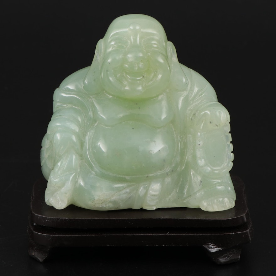 """Chinese Style """"Happy Buddha"""" Serpentine Sculpture and Wood Stand"""