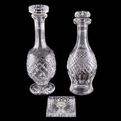 """Waterford Crystal """"Cara"""" and """"Powerscourt"""" Decanters and Desk Clock"""