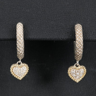 Sterling Silver Diamond Drop Heart Earrings with 18K Accents