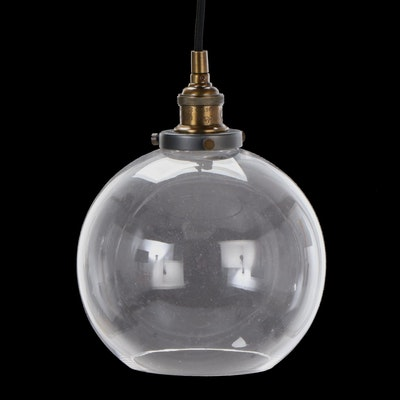Glass Globe Single Light Pendant Fixture with Cord Stem, Contemporary