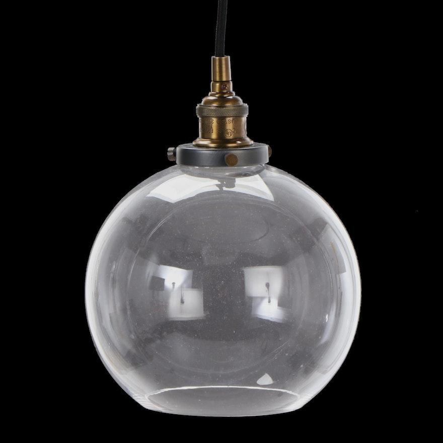 Glass Globe Single Light Pendant Fixture with Cord Stem, Contemporary