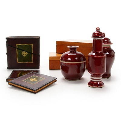 Sarreid Ltd. Embossed Boxes, Book-Themed Coaster set, and Glazed Ceramic Jars