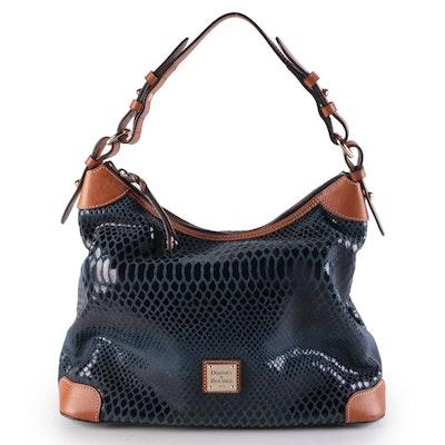 Dooney & Bourke Erica Hobo Bag in Navy Snakeskin Embossed Leather with Tan Trim