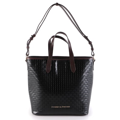 Dooney & Bourke Lilliana Shopper in Black Woven Leather with Brown Leather Trim