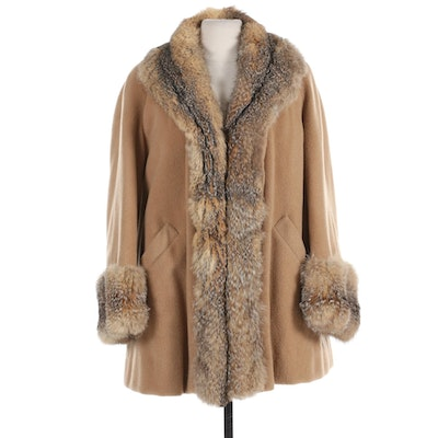 Rabbit Fur Lined Camel Hair Coat