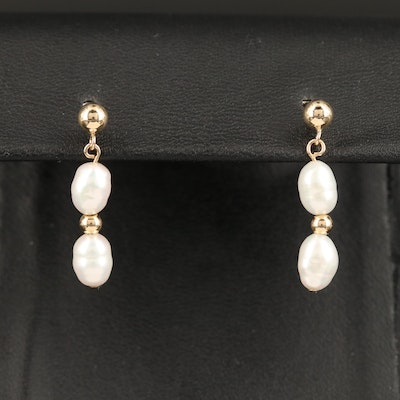 14K Pearl Drop Earrings