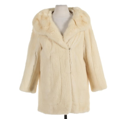 White Mink Fur Stroller Coat with Shawl Collar and Embroidered Lining