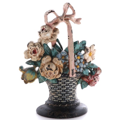 Cast Iron and Enamel Flower Bouquet in Basket Doorstop, Early to Mid-20th C.