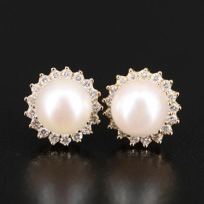 10K Pearl and Diamond Stud Earrings