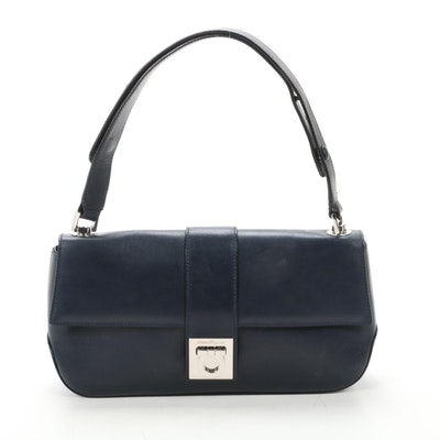 Salvatore Ferragamo Gancini Flap Front Shoulder Bag in Navy Leather