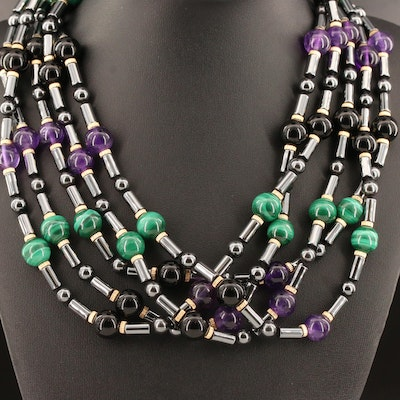 14K Black Onyx, Amethyst, Malachite and Hematite Torsade Necklace
