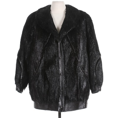 Fox Fur and Reptile Embossed Leather Jacket