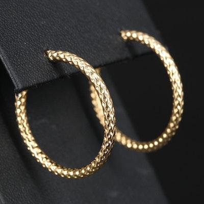 14K Pattern Hoop Earrings