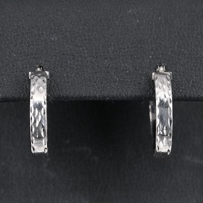 14K Etched Oval Hoop Earrings