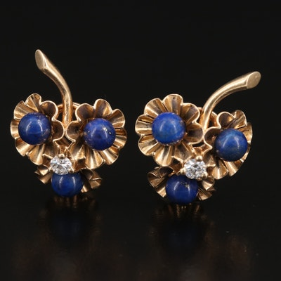 14K Diamond and Lapis Lazuli Flower Bouquet Earrings