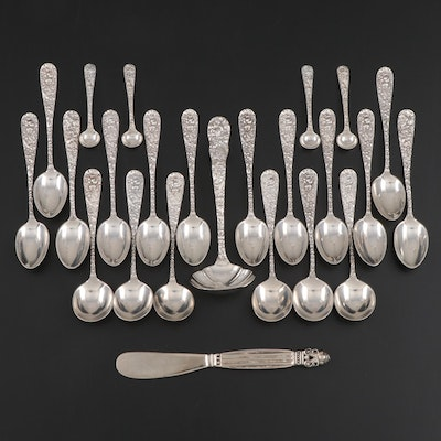 "Stieff ""Repoussé"" Sterling Silver Flatware with Godinger Knife"