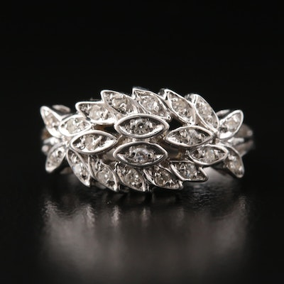 14K Diamond Foliate Ring