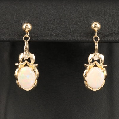 14K Opal and Diamond Drop Earrings
