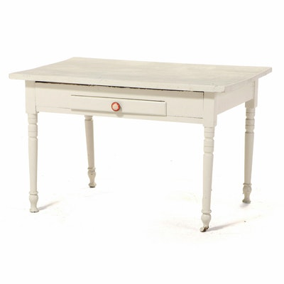 Primitive Painted Wood Single-Drawer Table, Early 20th Century