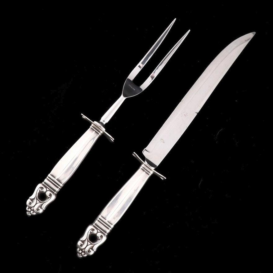 """Georg Jensen """"Acorn"""" Sterling Silver Handled Carving Set"""