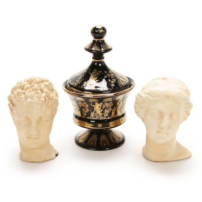 Grecian Gilded Ceramic Lidded Vessel and Plaster Busts, Mid-20th Century