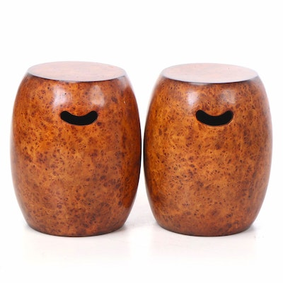 Pair of Burlwood Garden Stools