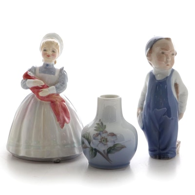 "Royal Doulton Porcelain Figurine with Royal Copenhagen Vase and ""Boy With Broom"""