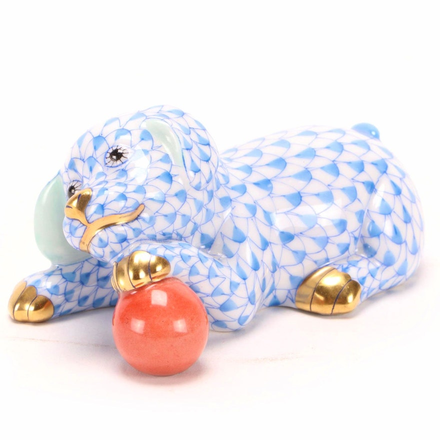 """Herend Blue Fishnet with Gold """"Labrador Puppy with Ball"""" Porcelain Figurine"""