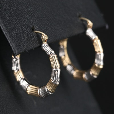 14K Two-Tone Bamboo Hoop Earrings