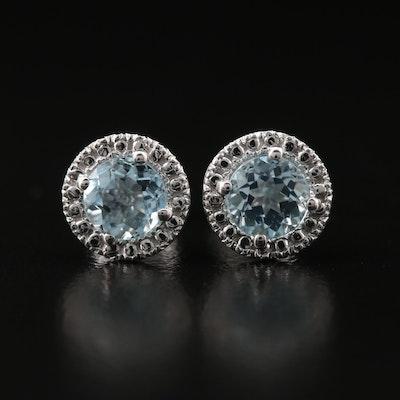10K Aquamarine Stud Earrings