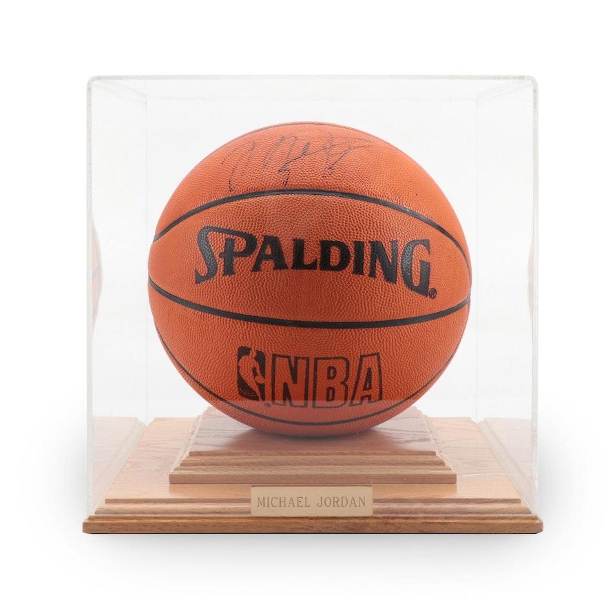 Michael Jordan Signed Spalding NBA Basketball in Presentation Case