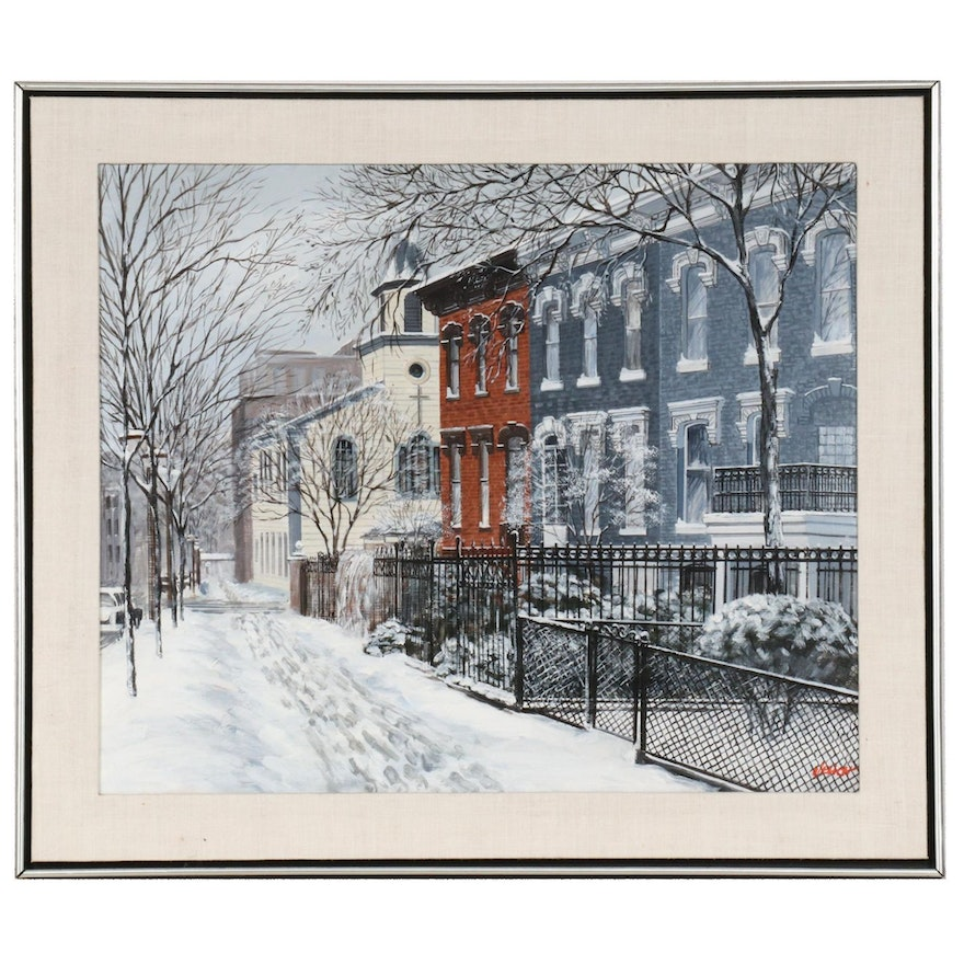M. Elich Oil Painting of Chicago Street Scene in Winter