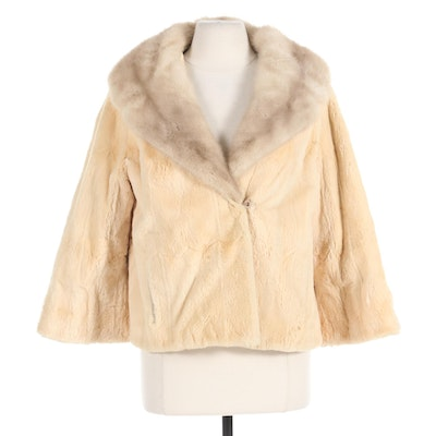 Bleached and Sheared Beaver Fur Cropped Jacket with Mink Fur Collar