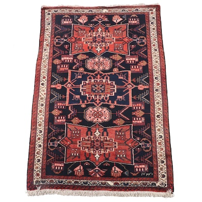 4'0 x 6'8 Hand-Knotted Persian Karaja Wool Rug