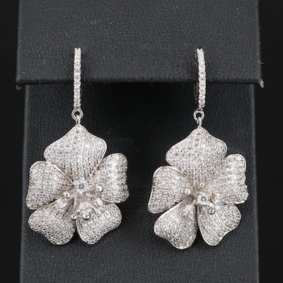Sterling Silver Cubic Zirconia Flower Dangle Earrings